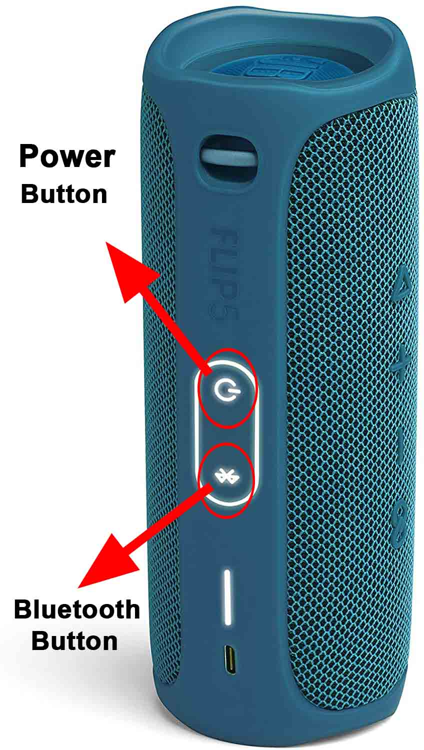 Power and Bluetooth Buttons on JBL Speakers